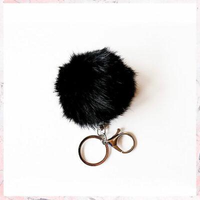 nøglering med kanin sort