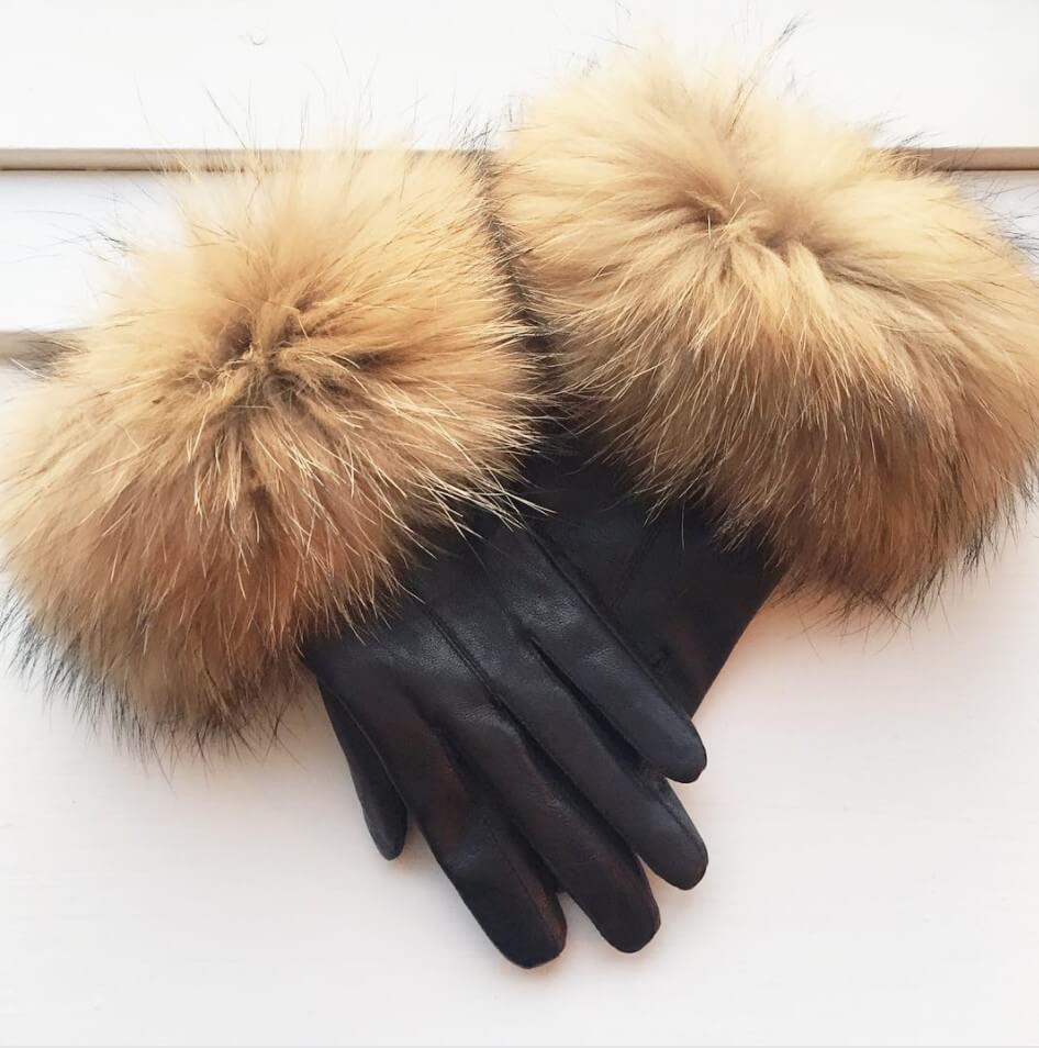Skindhandske m. pels – brun