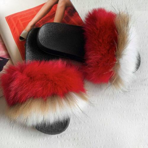 røde pelsslippers
