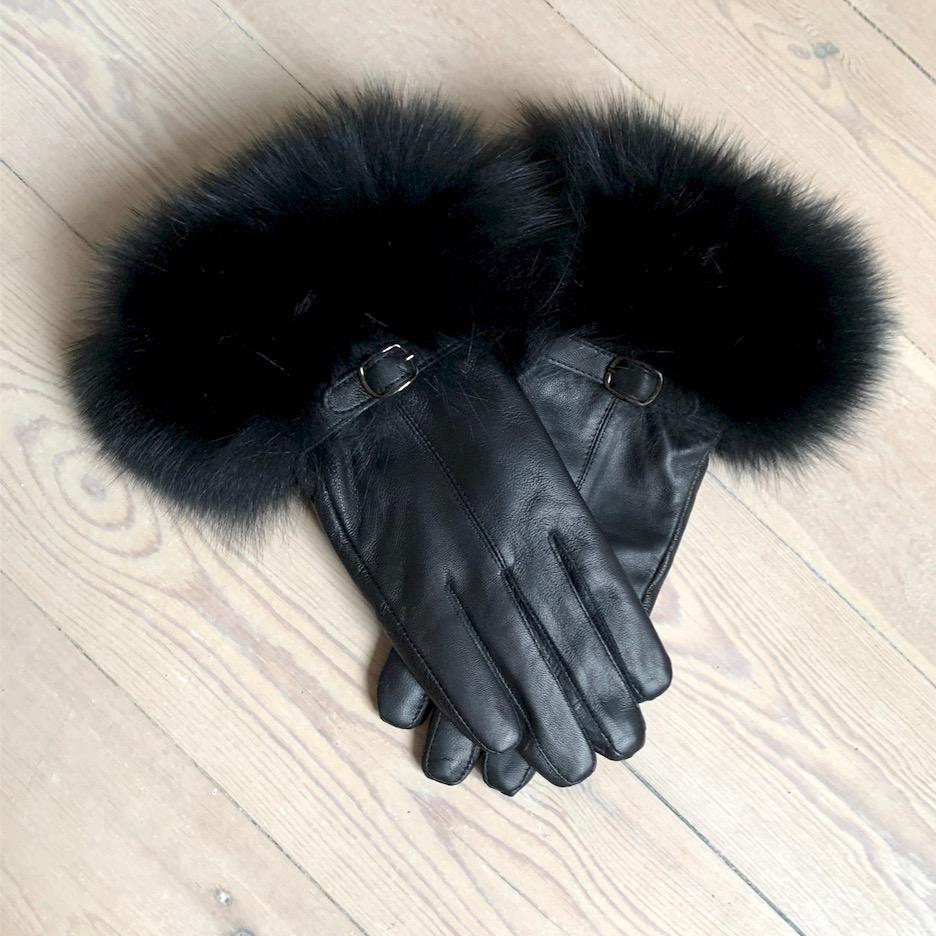 Skindhandske m. pels i ræv – sort