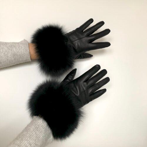 Skindhandske med pels i ræv