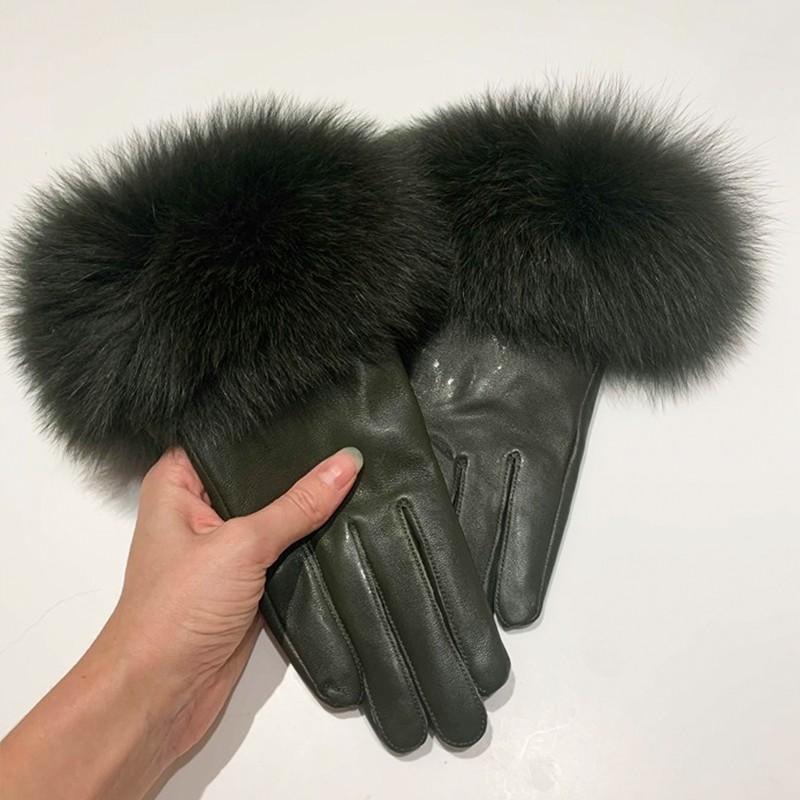 Skindhandske m. pels – Army grøn