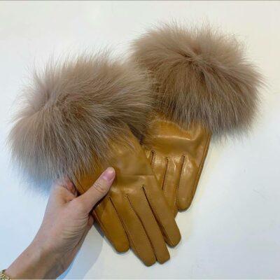 Lysebrune pelsslippers